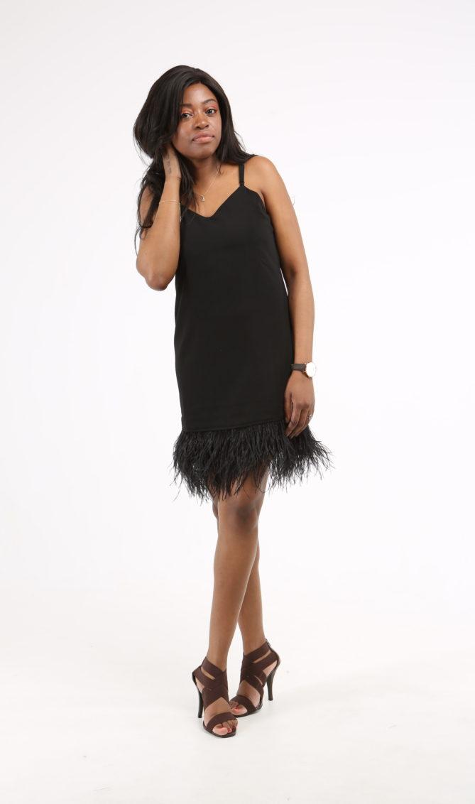 ed27eac385713 Feathered Hem Cami Dress