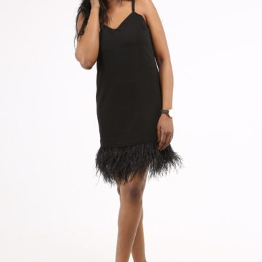 Feathered Hem Cami Dress
