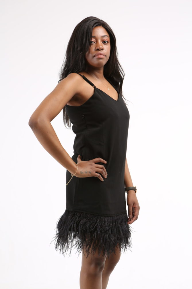 The French 95 - Swiss online shopping for women's fashion - Shop black feather hem cami dresses at affordable prices - Free shipping in Switzerland, pay per invoice, 20% off your first order with code FIRST20