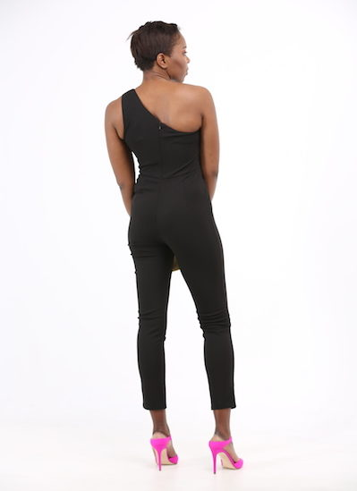 Black Asymmetric One Shoulder Jumpsuit
