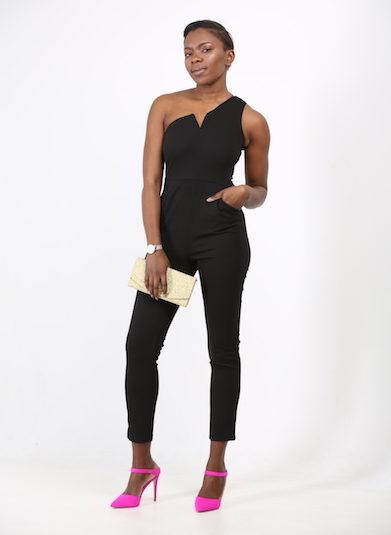 Black Asymmetric One Shoulder Jumpsuit
