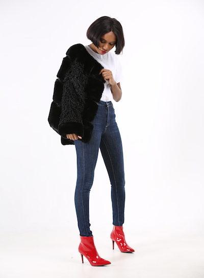 Black Mixed Faux Fur Jacket