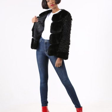 Mixed Faux Fur Jacket – Black