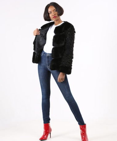 Black Mixed Faux Fur Jacket
