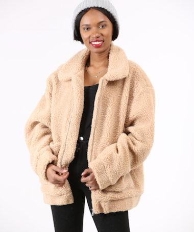 Beige Oversized Faux-fur Sheep Teddy