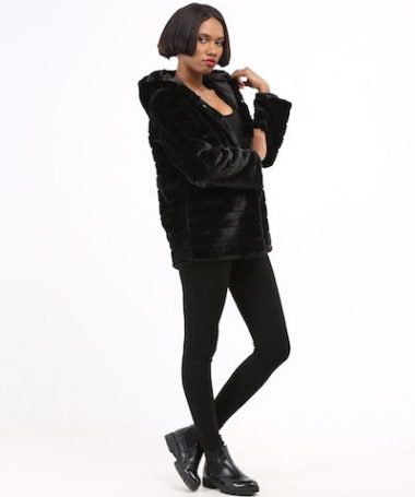 Black Hooded Faux-Fur Coat - Back