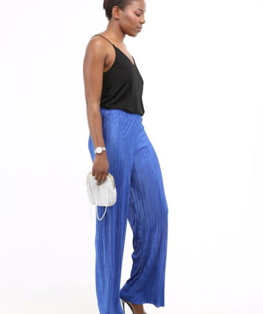 Blue Loose Pleated Trousers