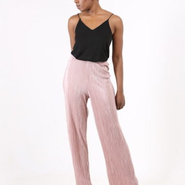 Pink Loose Pleated Trousers
