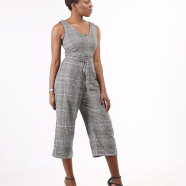 Plaid Culotte Belted Jumpsuit