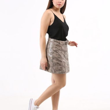 Snake Pattern Vinyl Mini Skirt