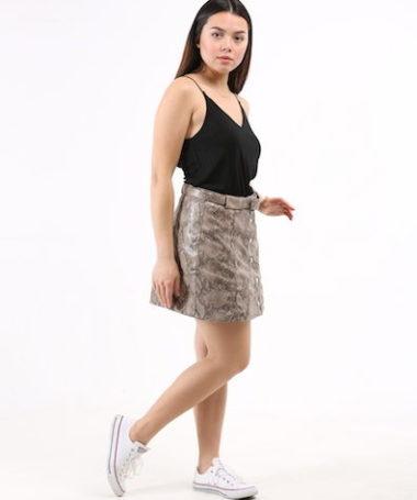 Snake Pattern Vinyl Mini Skirt