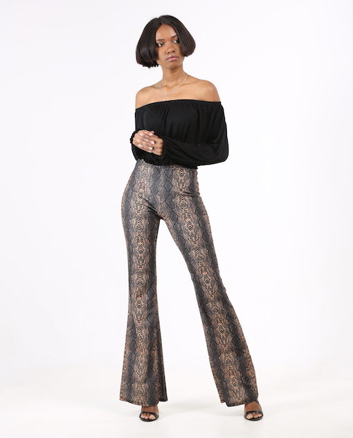 Snake Print Flare Trousers