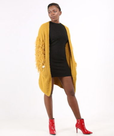 Yellow Shaggy Sleeves Loose Cardigan