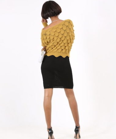 Yellow Textured Ribbed Knit Pullover
