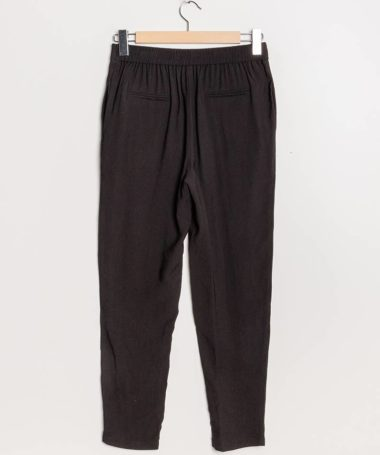 Black Classic Pleated Peg Leg Trousers