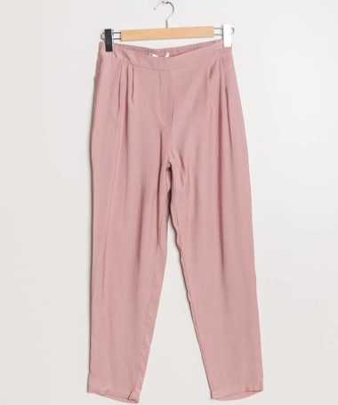 Pink Classic Pleated Peg Leg Trousers