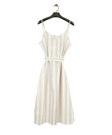 Beige Stripe Button Up Midi Dress
