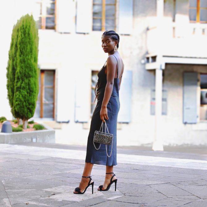 Black Silk Camisole Midi Dress