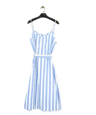 Blue Stripe Button Up Midi Dress