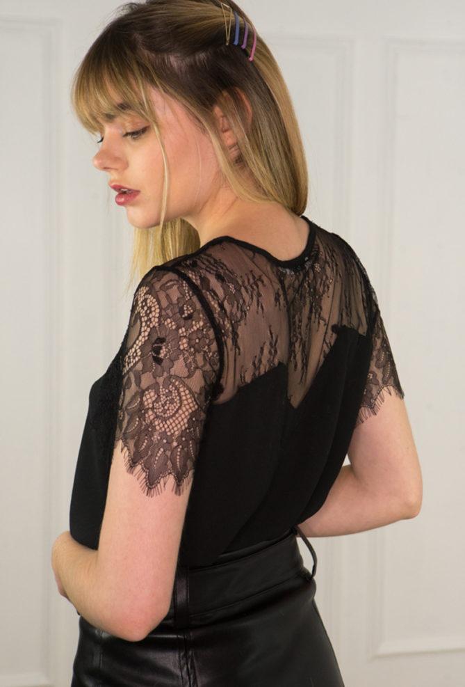 Black Lace Bi-Fabric Short Sleeve Top