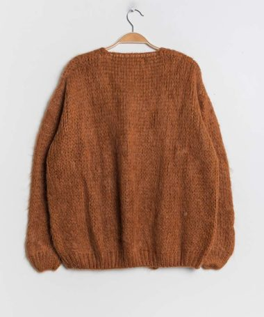 Brown Knitted Open Cardigan
