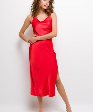 Red Silky Camisole Midi Dress