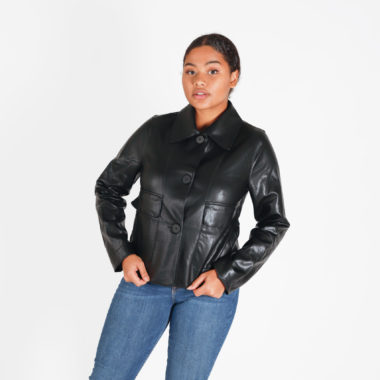 Faux Leather Collar Jacket