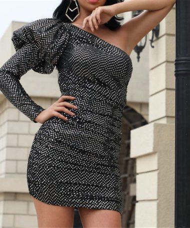 Black One Shoulder Puff Sleeve Glitter Dress