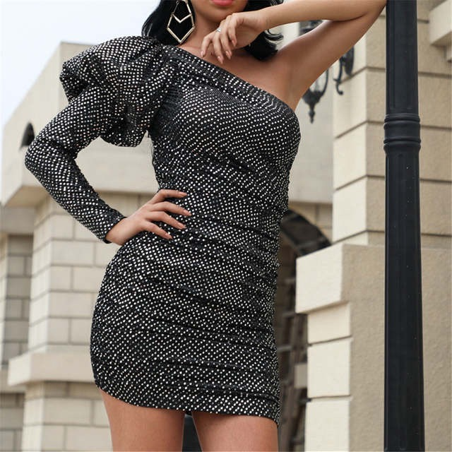 Black One Shoulder Puff Sleeve Glitter Dress