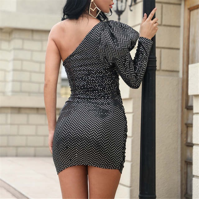 Black One Shoulder Sequin Puff Sleeve Dress