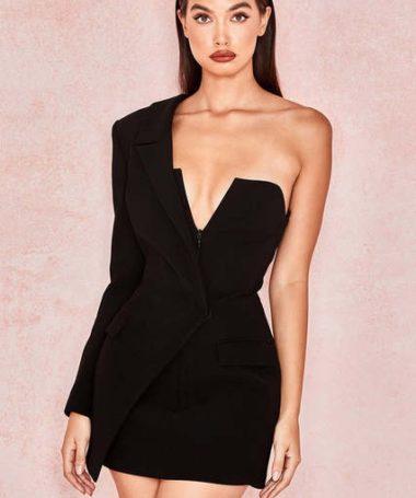 Black One Sleeve Blazer Dress