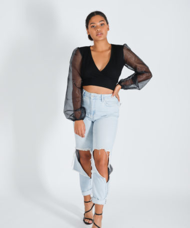 Black Organza Puff Sleeves Crop Top