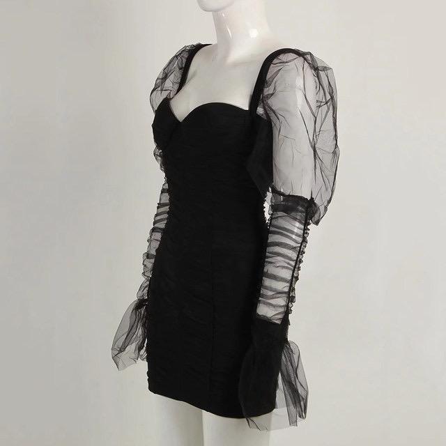 Black Ruched Sheer Sleeve Mini Dress