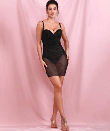 Black Sequin Sheer Dress