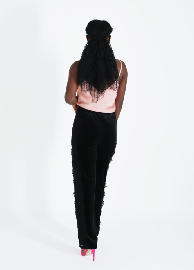 Black Velvet Lace Stripe Jogging