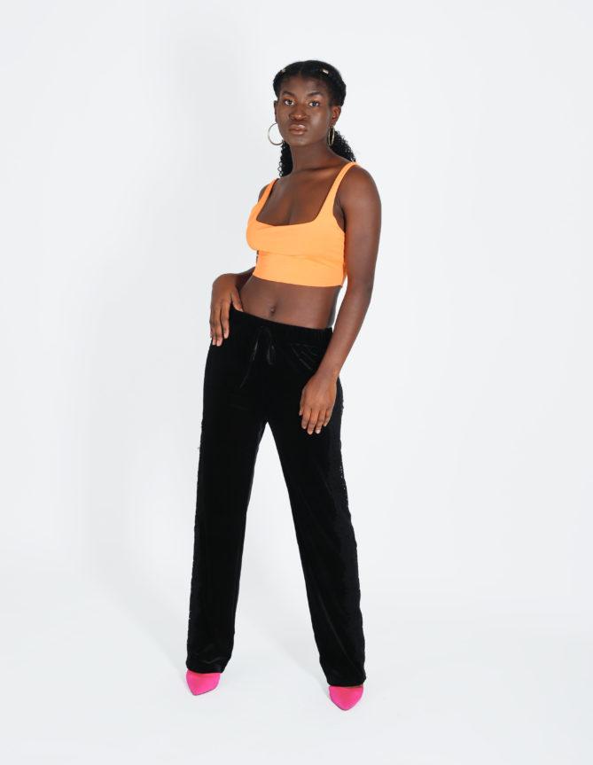 Black Velvet Lace Stripe Jogging