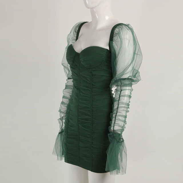 Green Ruched Sheer Sleeve Mini Dress