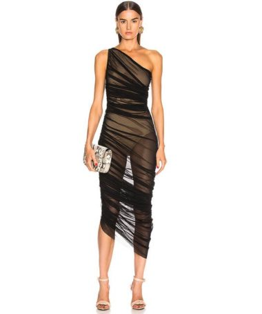 One Shoulder Drape Sheers Dress
