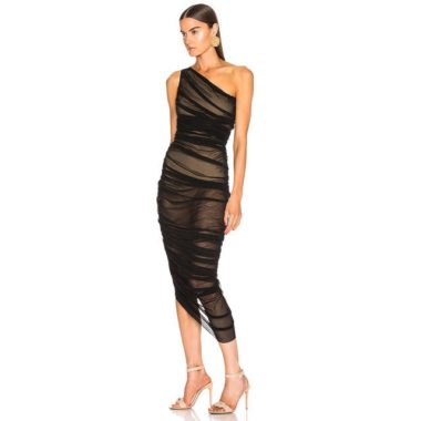 One Shoulder Ruched Mesh Midi Dress