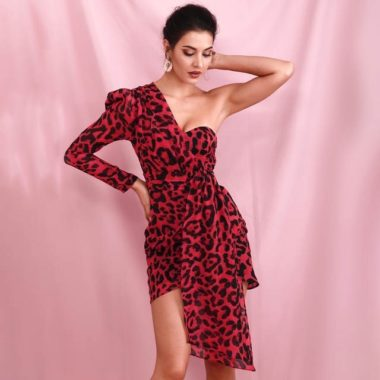 Leopard Print One Shoulder Wrap Mini Dress