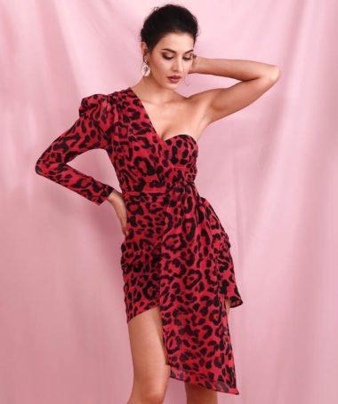 Red Leopard Print One Sleeve Mini Dress