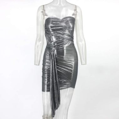 Metallic Silver Strapless Bodycon Mini Dress