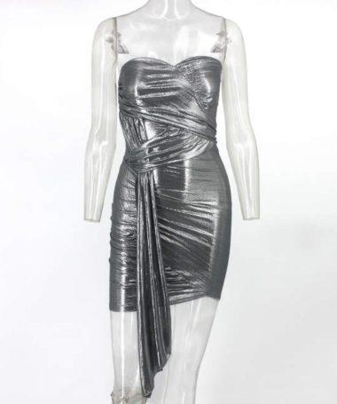 Silver Foil Sleeveless Bodycon Mini Dress
