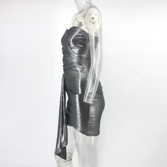 Silver Foil Sleeveless Bodycon Mini Dress