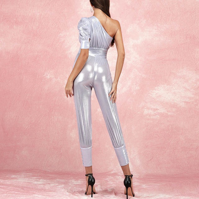 Silver One Sleeve Foil Jumpsuit