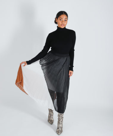 Tricolour Colourblock Pleated Midi Skirt