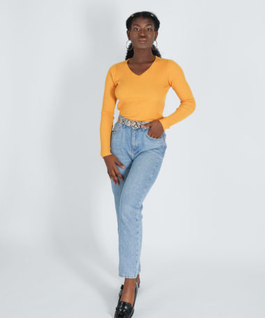 Yellow V-neck Ribbed Pullover
