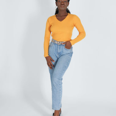 V-Neck Ribbed Pullover – Yellow