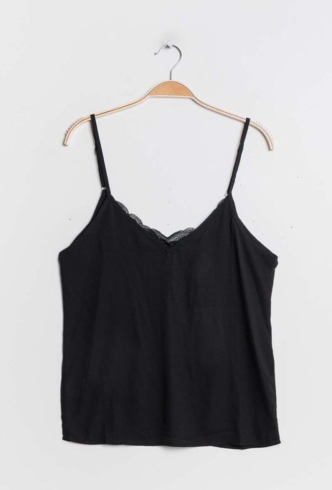 Black Mixed Fabric Camisole
