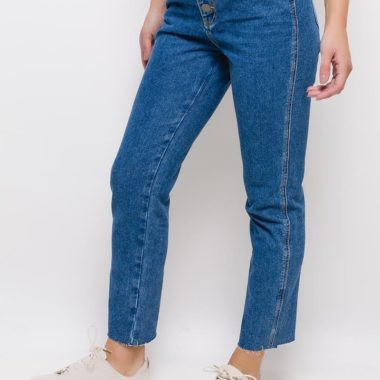 High Waist Raw Cut Hem Mom Jeans